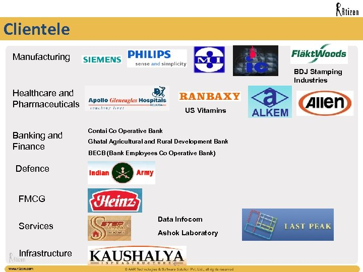 Clientele Manufacturing BDJ Stamping Industries Healthcare and Pharmaceuticals Banking and Finance US Vitamins Contai