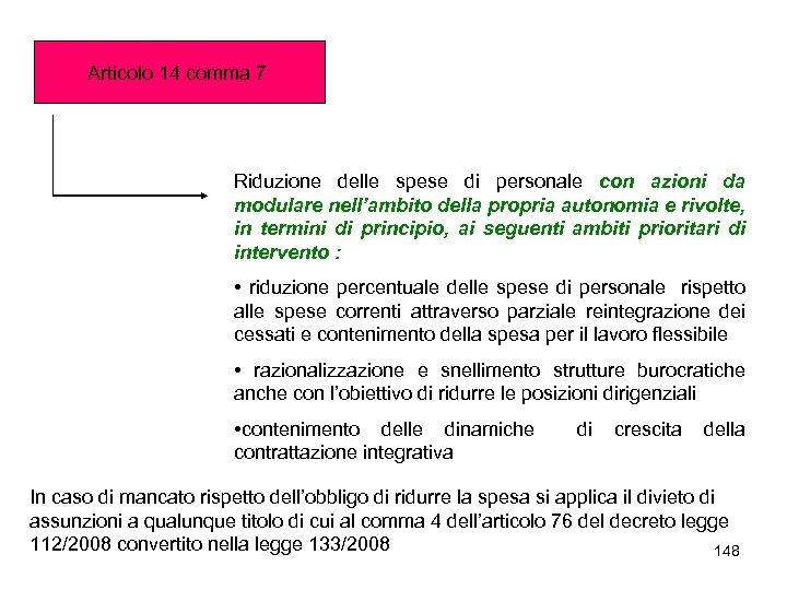 Articolo 14 comma 7 Riduzione delle spese di personale con azioni da modulare nell'ambito