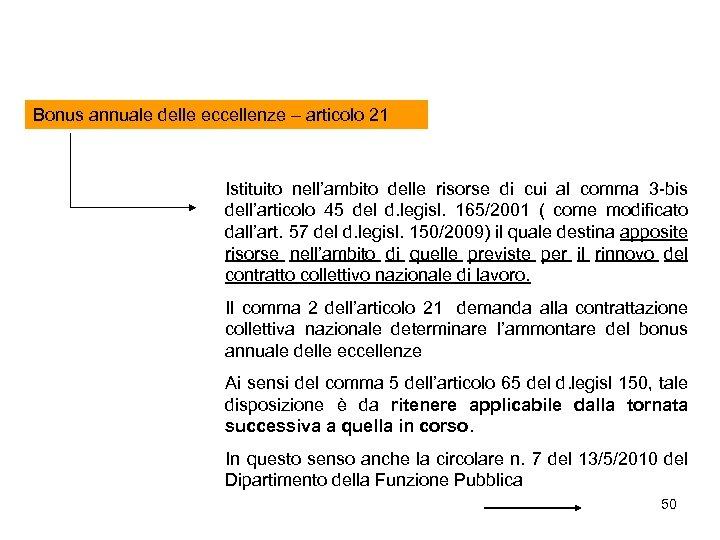 Bonus annuale delle eccellenze – articolo 21 Istituito nell'ambito delle risorse di cui al