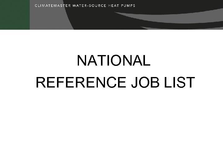 NATIONAL REFERENCE JOB LIST