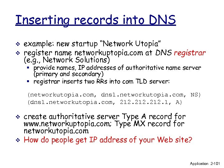"Inserting records into DNS v v example: new startup ""Network Utopia"" register name networkuptopia."