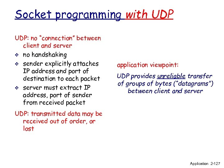 "Socket programming with UDP: no ""connection"" between client and server v no handshaking v"
