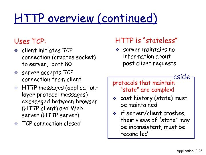 HTTP overview (continued) Uses TCP: v v client initiates TCP connection (creates socket) to