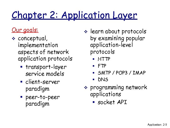 Chapter 2: Application Layer Our goals: v conceptual, implementation aspects of network application protocols