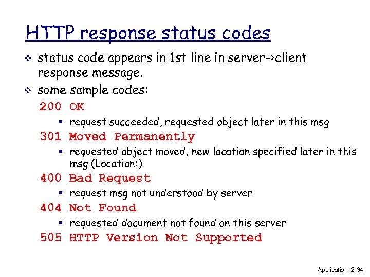 HTTP response status codes v v status code appears in 1 st line in