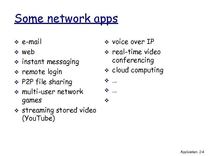 Some network apps v v v v e-mail web instant messaging remote login P