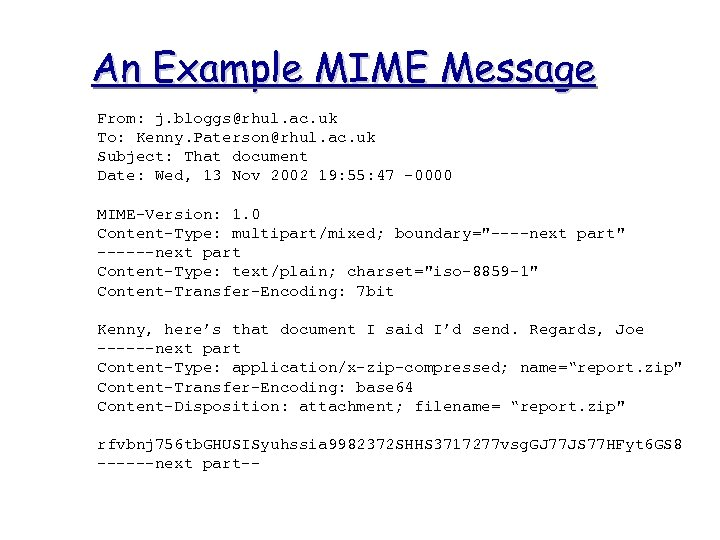 An Example MIME Message From: j. bloggs@rhul. ac. uk To: Kenny. Paterson@rhul. ac. uk