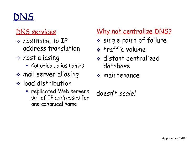 DNS services v hostname to IP address translation v host aliasing § Canonical, alias