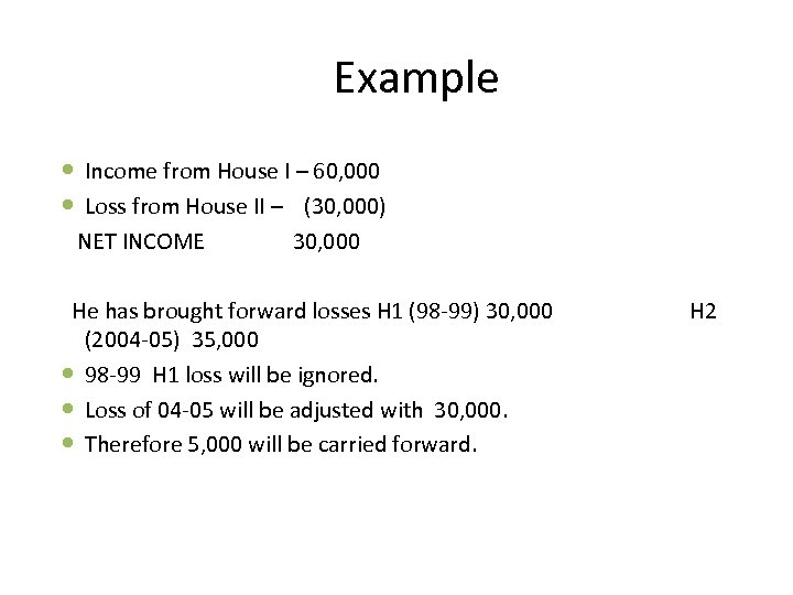 Example Income from House I – 60, 000 Loss from House II – (30,