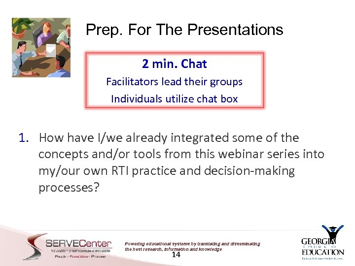 Prep. For The Presentations 2 min. Chat Facilitators lead their groups Individuals utilize chat