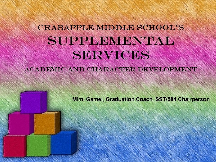 Crabapple Middle School's Supplemental Services Academic and Character development Mimi Gamel, Graduation Coach, SST/504