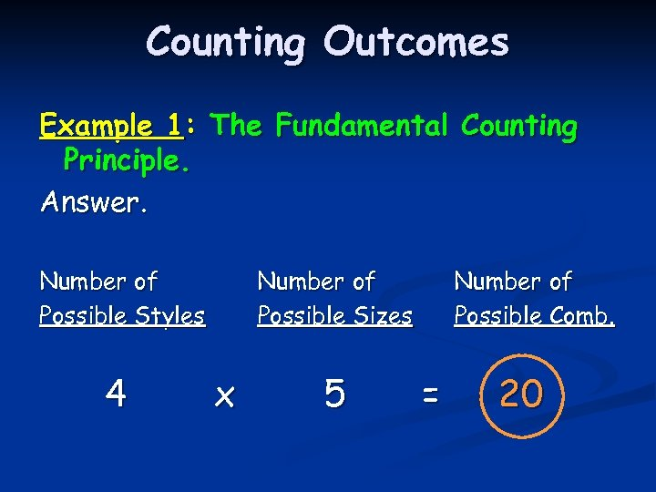 Counting Outcomes Example 1: The Fundamental Counting Principle. Answer. Number of Possible Styles 4