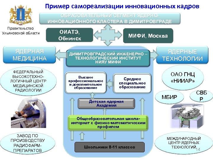 Пример самореализации инновационных кадров ОБРАЗОВАТЕЛЬНЫЙ СЕГМЕНТ ЯДЕРНОИННОВАЦИОННОГО КЛАСТЕРА В ДИМИТРОВГРАДЕ Правительство Ульяновской области ЯДЕРНАЯ