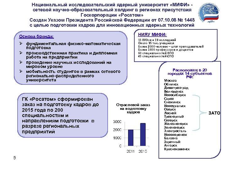 Национальный исследовательский ядерный университет «МИФИ» сетевой научно-образовательный холдинг в регионах присутствия Госкорпорации «Росатом» Создан