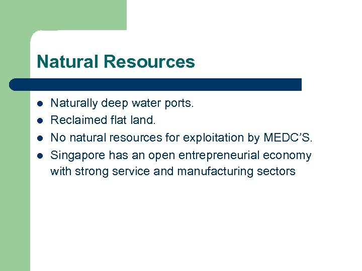 Natural Resources l l Naturally deep water ports. Reclaimed flat land. No natural resources