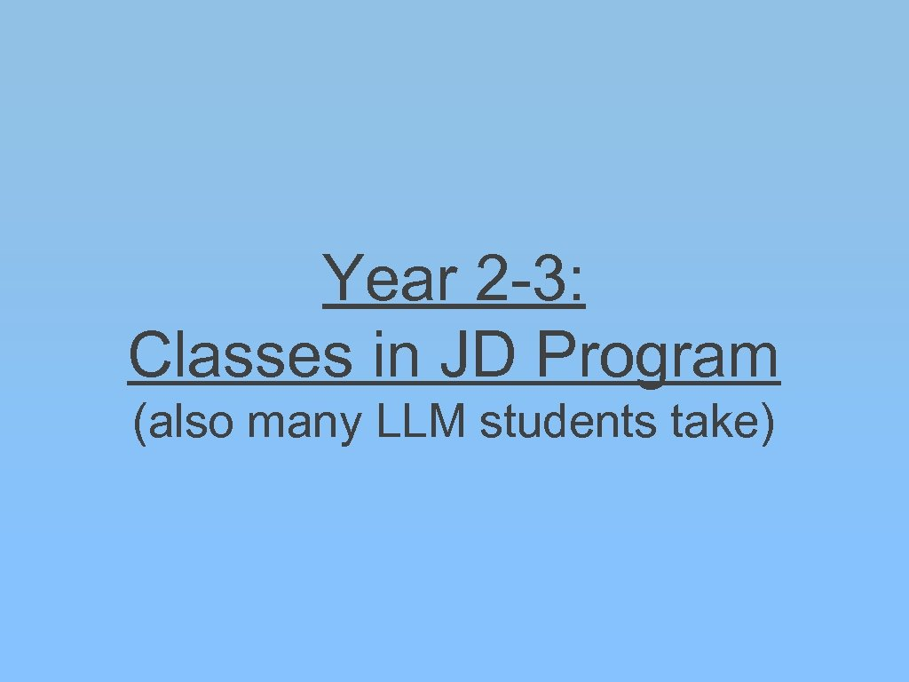 Year 2 -3: Classes in JD Program (also many LLM students take)