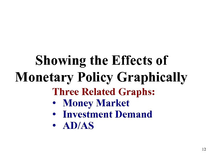 Showing the Effects of Monetary Policy Graphically Three Related Graphs: • Money Market •