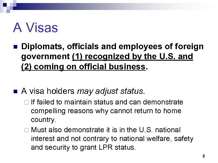 A Visas n Diplomats, officials and employees of foreign government (1) recognized by the