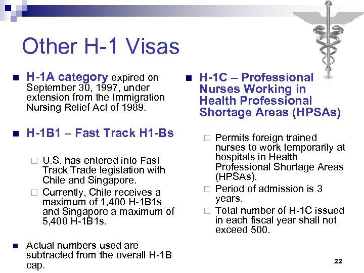 Other H-1 Visas n H-1 A category expired on n H-1 B 1 –