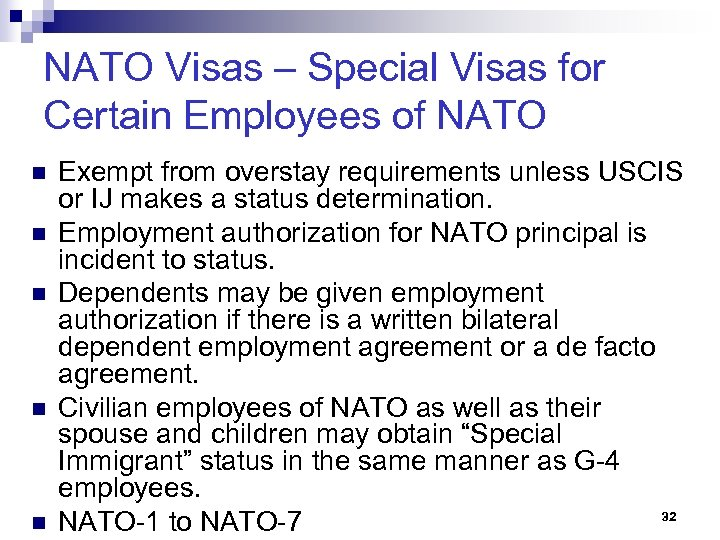 NATO Visas – Special Visas for Certain Employees of NATO n n n Exempt