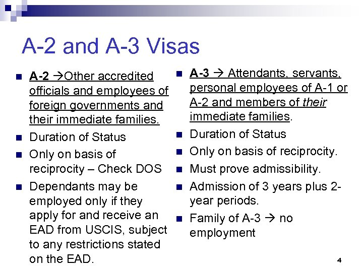 A-2 and A-3 Visas n n A-2 Other accredited officials and employees of foreign