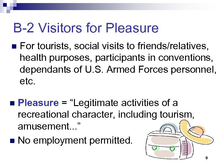 B-2 Visitors for Pleasure n For tourists, social visits to friends/relatives, health purposes, participants