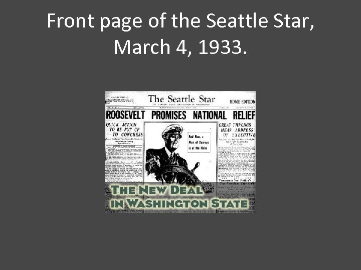 Front page of the Seattle Star, March 4, 1933.