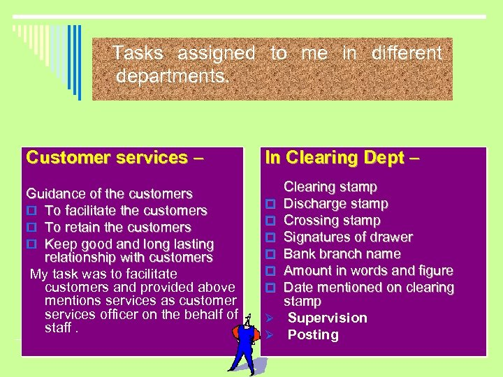 Tasks assigned to me in different departments. Customer services – Guidance of the customers
