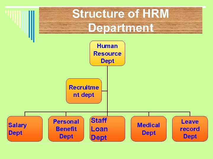Structure of HRM Department Human Resource Dept Recruitme nt dept Salary Dept Personal Benefit