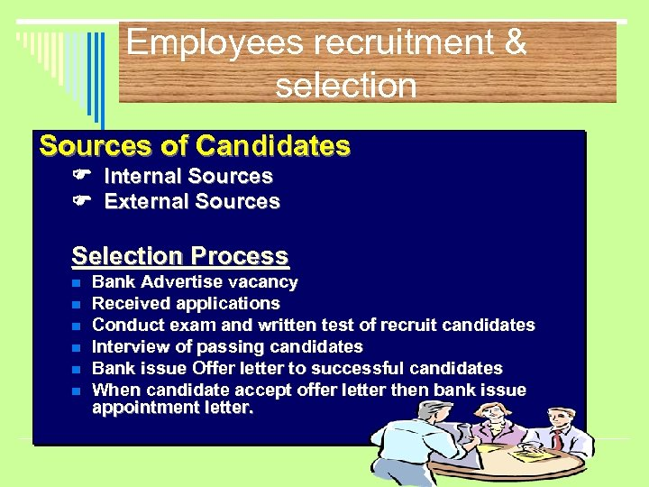 Employees recruitment & selection Sources of Candidates Internal Sources External Sources Selection Process n