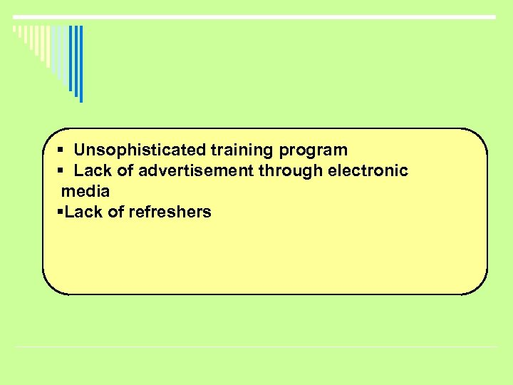 § Unsophisticated training program § Lack of advertisement through electronic media §Lack of refreshers