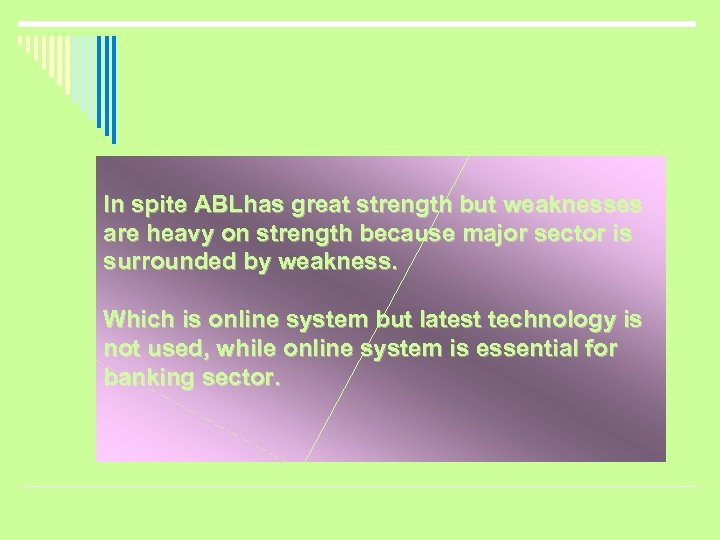 In spite ABLhas great strength but weaknesses are heavy on strength because major sector