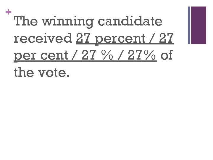 + The winning candidate received 27 percent / 27 per cent / 27 %