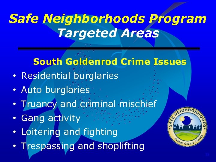 Safe Neighborhoods Program Targeted Areas South Goldenrod Crime Issues • Residential burglaries • Auto