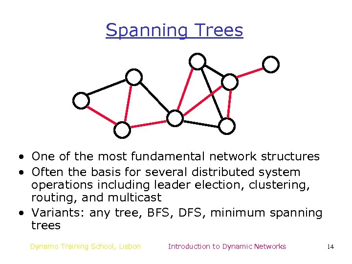 Spanning Trees • One of the most fundamental network structures • Often the basis