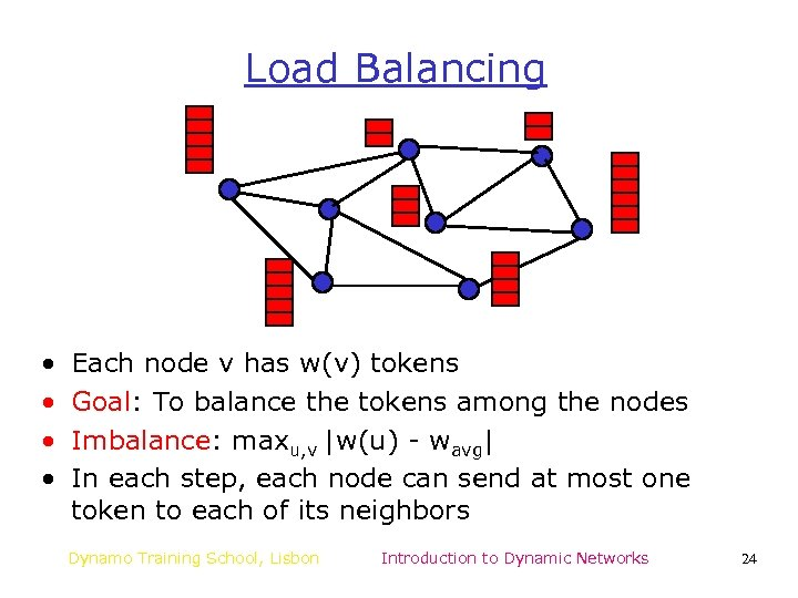 Load Balancing • • Each node v has w(v) tokens Goal: To balance the