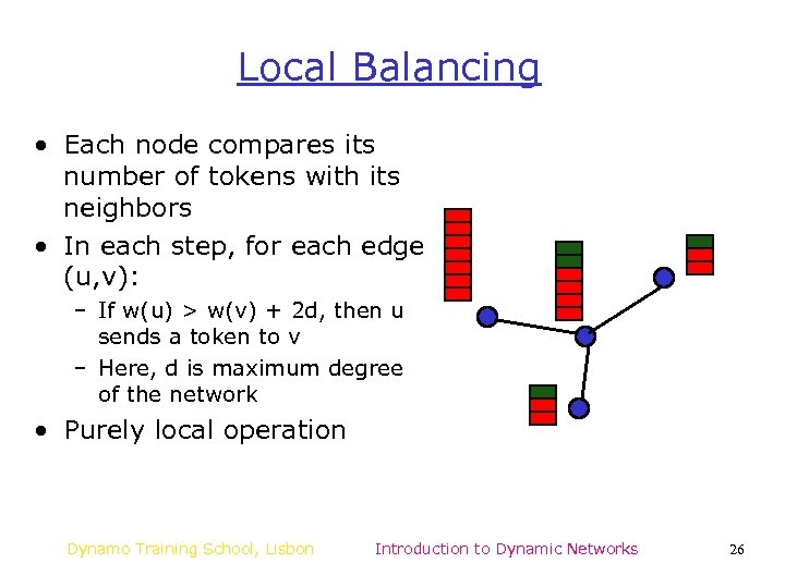 Local Balancing • Each node compares its number of tokens with its neighbors •