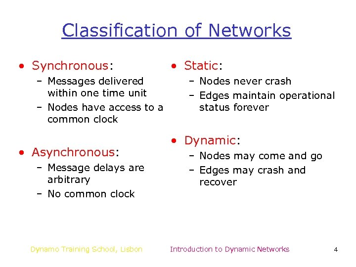 Classification of Networks • Synchronous: – Messages delivered within one time unit – Nodes