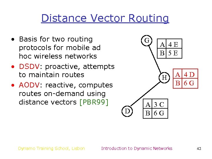 Distance Vector Routing • Basis for two routing protocols for mobile ad hoc wireless