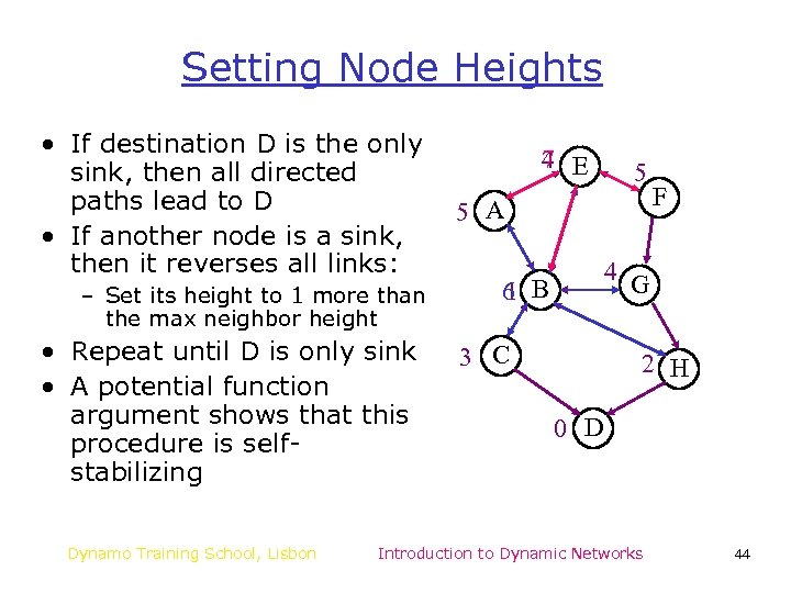 Setting Node Heights • If destination D is the only sink, then all directed