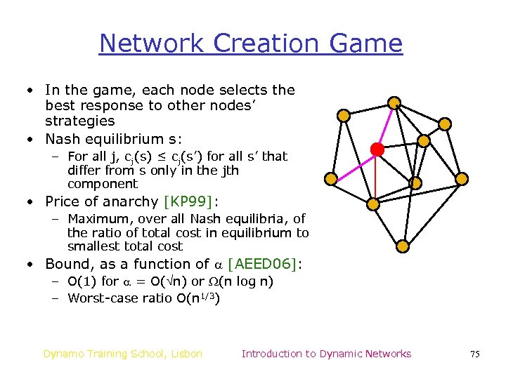 Network Creation Game • In the game, each node selects the best response to