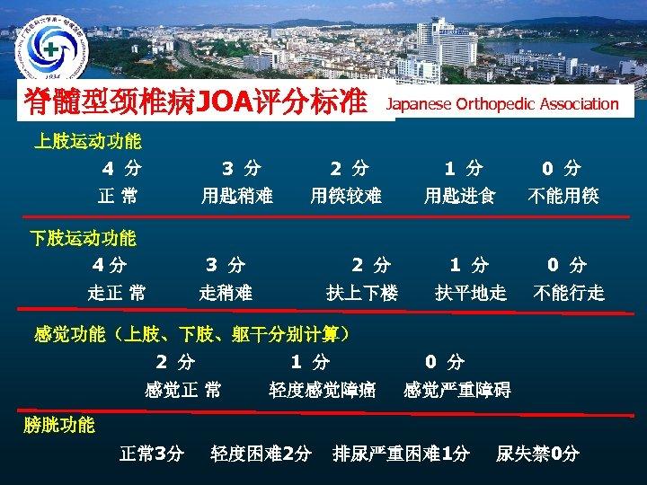 脊髓型颈椎病JOA评分标准 Japanese Orthopedic Association 上肢运动功能 4 分 3 分 2 分 1 分 0