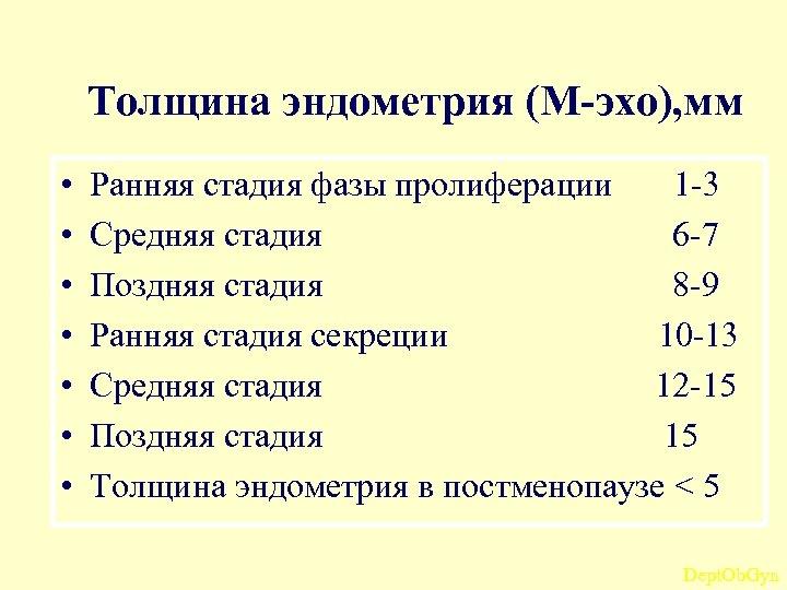 Толщина эндометрия (М-эхо), мм • • Ранняя стадия фазы пролиферации 1 -3 Средняя стадия