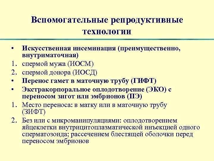 Вспомогательные репродуктивные технологии • 1. 2. • • 1. 2. Искусственная инсеминация (преимущественно, внутриматочная)