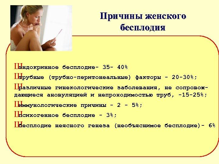 Причины женского бесплодия Ш эндокринное бесплодие 35 40% Ш трубные (трубно перитонеальные) факторы Ш