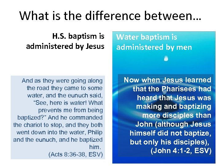 What is the difference between… H. S. baptism is administered by Jesus And as