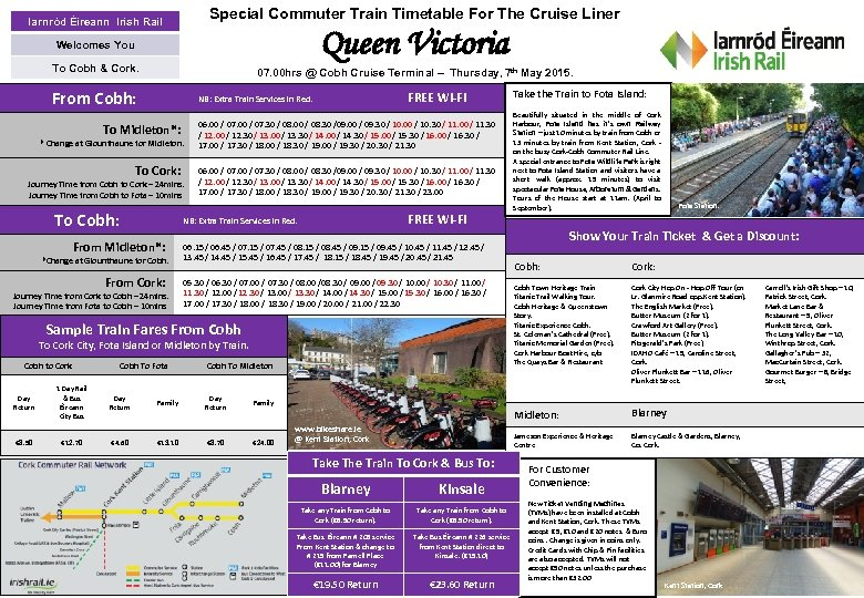 Special Commuter Train Timetable For The Cruise Liner Iarnród Éireann Irish Rail Queen Victoria