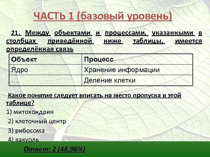 ЧАСТЬ 1 (базовый уровень) 21. Между объектами и процессами, указанными в столбцах приведённой определённая