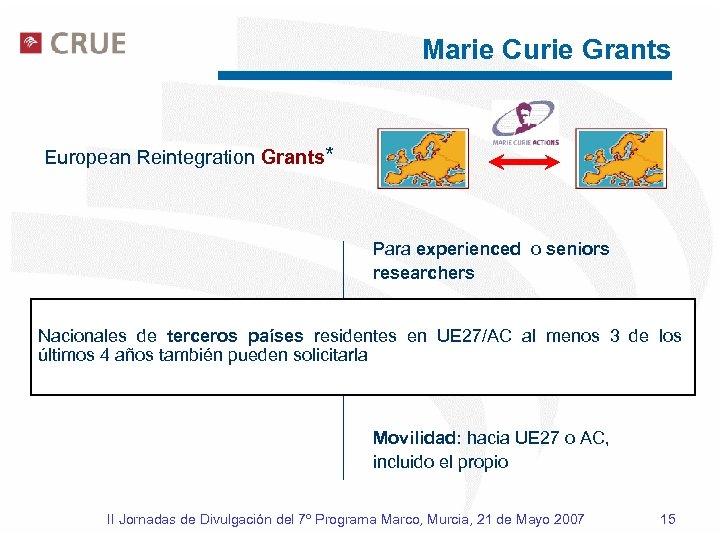 Marie Curie Grants European Reintegration Grants* Para experienced o seniors researchers Duración: 2 a