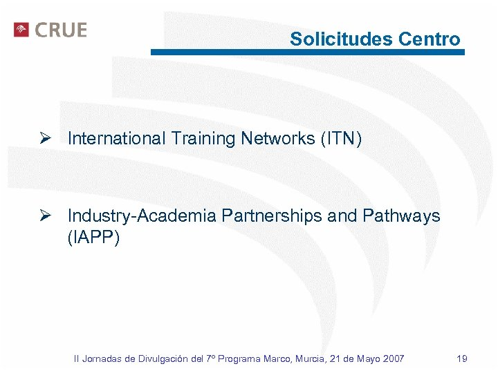 Solicitudes Centro Ø International Training Networks (ITN) Ø Industry-Academia Partnerships and Pathways (IAPP) II
